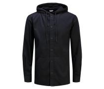 Kapuzen-Langarmhemd schwarz