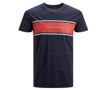 T-Shirt navy / rot / weiß