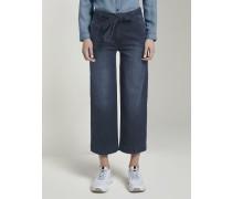 Jeanshosen Jeans Culotte mit Bindegürtel