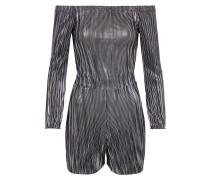 Jumpsuit 'foiled Plisse Bardot' silber