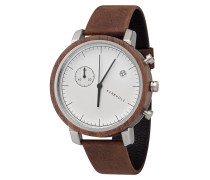 Armbanduhr 'Franz' braun / silber / weiß