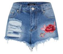 Jeans-Shorts mit Stickerei blue denim / rot