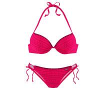 Push-up-Bikini gemustert mit Häkelkante