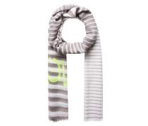 Schal mit Streifen gelb / hellgrau / weiß