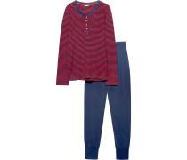 Schlafanzug 'Annie' blau / blutrot
