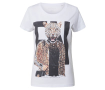 Shirt beige / schwarz / weiß