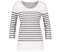 T-Shirt taupe / weiß