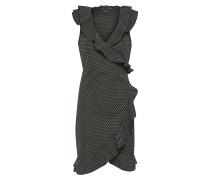 Wickelkleid mit Volants schwarz / weiß