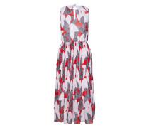 Kleid grau / rot / weiß