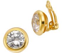 Paar Ohrclips mit Zirkonia gold / weiß
