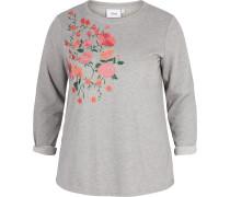 Sweatshirt graumeliert / pink