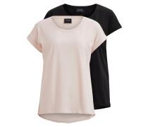 Einfaches T-Shirt - 2-pack rosa / schwarz