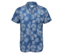 Kurzarmhemd creme / blau