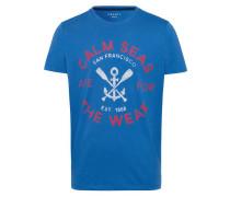 T-Shirt blau / hellrot / naturweiß