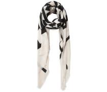 Langer Schal schwarz / wollweiß