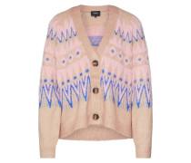 Strickjacke 'objemma' blau / rosa / beige