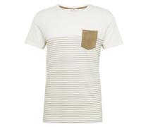 T-Shirt 'Halle' creme / oliv