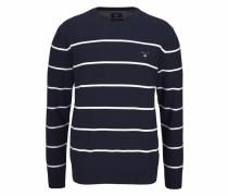 Rundhalspullover 'Breton' dunkelblau / weiß