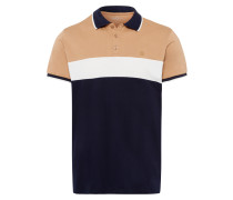 Poloshirt navy / hellbraun / weiß
