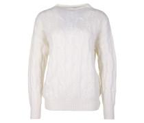 Pullover mit Zopfstrick Muster weiß