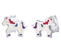 Ohrringe 'Pferd' hellblau / dunkla / rot / silber / weiß