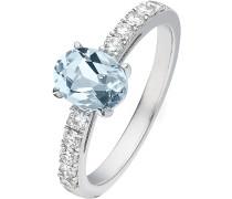 Ring 'Aquamarin' hellblau / silber / weiß