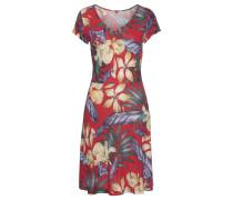 Kleid royalblau / pastellgelb / rot