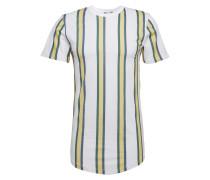T-Shirt creme / dunkelgrün / weiß