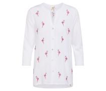 Bluse mit Stitching pink / weiß