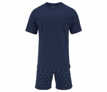 Pyjama kurz Shorty mit Krawattendruck