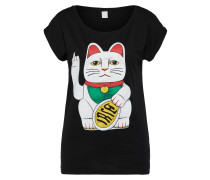 T-Shirt 'Big Kitty' schwarz