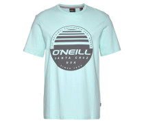 T-Shirt 'Horizon' azur / dunkelgrau