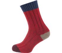 Socken beige / nachtblau / rot