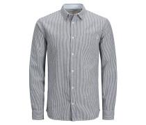 Lässiges Langarmhemd blau / weiß