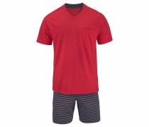 Pyjama kurz Shorty anthrazit / rot