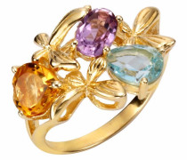 Fingerring blau / gelb / gold / lila