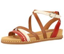 Sandalen braun / weiß / rot