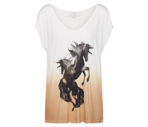 Shirt 'MerveCR' schwarz / camel / creme