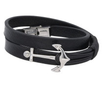 Armband 'Anker' schwarz / silber