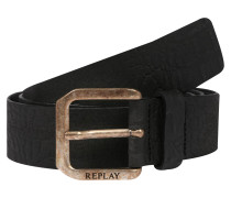 Ledergürtel 'Leather Belt' schwarz