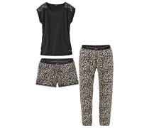 Pyjamaset gelb / pink / schwarz