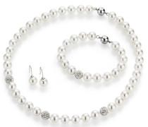 Schmuckset: Collier Armband und Paar Ohrhaken mit Perle und Kristallsteine