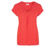 V-Neck-Bluse aus Crêpe orangerot