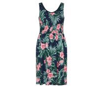Kleid navy / grasgrün / rosa