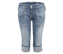 3/4-Jeans im Used-Look 'Pitch' blau