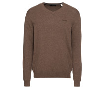 Pullover 'Basic CO V-nk' braun