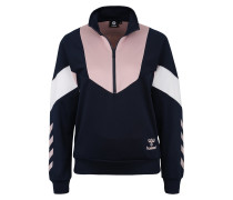 Sweatshirt 'chi Half Zip' dunkelblau / rosa