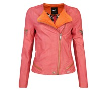 Lederjacke 'Diamond' orange / pink