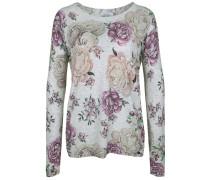 Pullover mit Flowerprint grau / dunkellila