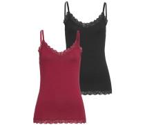 Unterhemd- Set bordeaux / schwarz